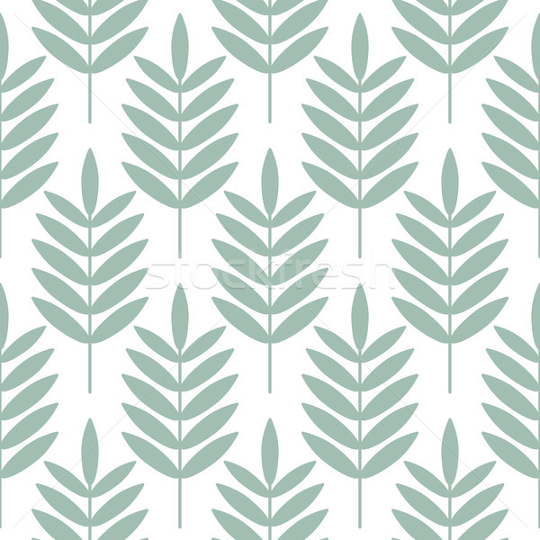 Stock photo: Palm blue leaves seamless vector pattern.