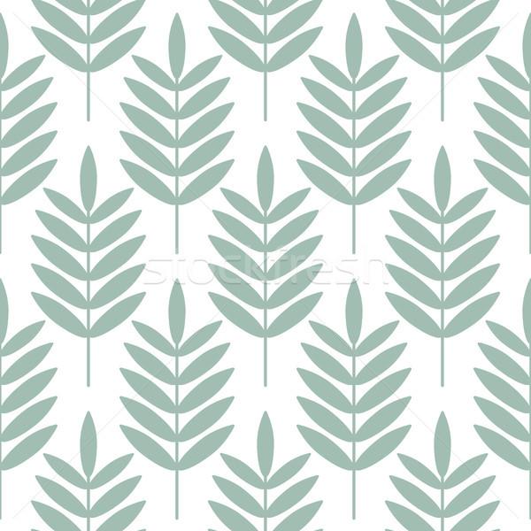 Palm Blauw bladeren naadloos vector patroon Stockfoto © yopixart