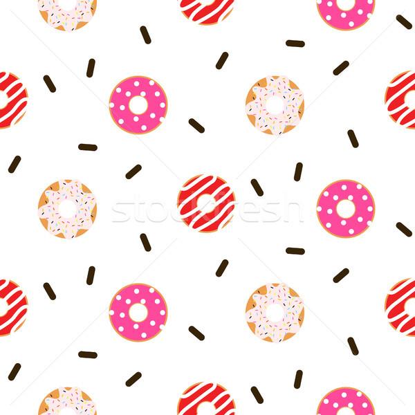 Donut pink glazed seamless vector pattern. Stock photo © yopixart