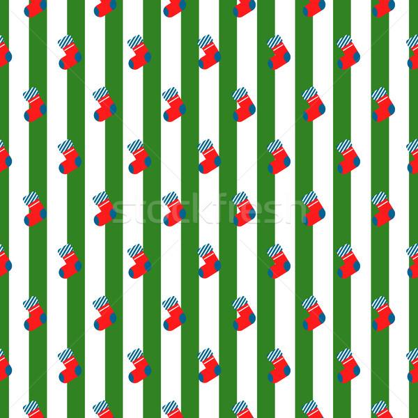 New year socks striped seamless vector pattern. Stock photo © yopixart