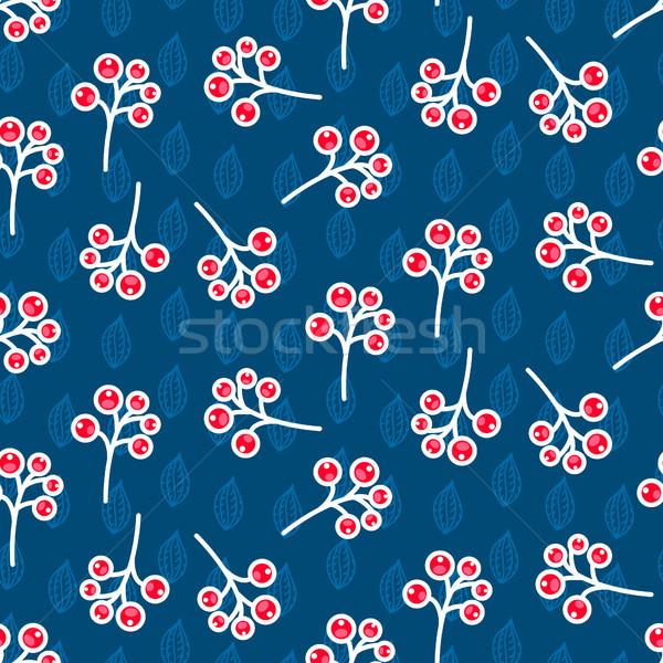 Rowan berry seamless pattern on blue. Stock photo © yopixart