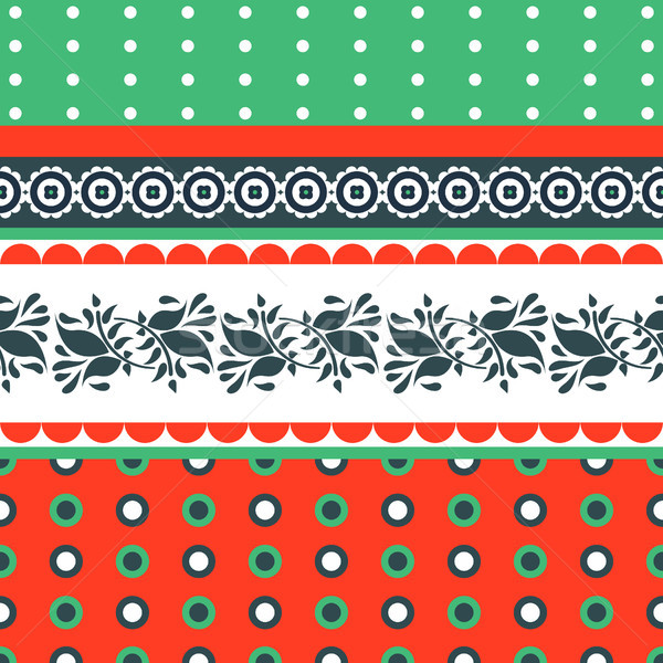 Folk floral red and green seamless vector pattern. Stock photo © yopixart