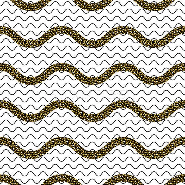 Zig-zag onda linee oro glitter senza soluzione di continuità Foto d'archivio © yopixart