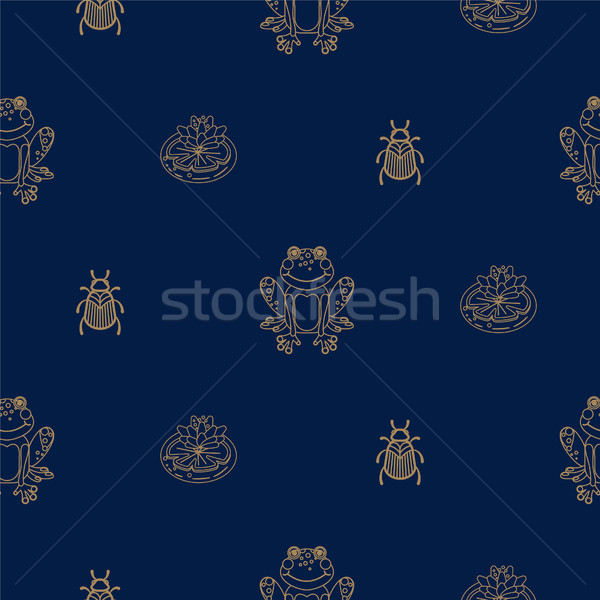 Dark blue and gold outline frog on pond seamless pattern. Stock photo © yopixart