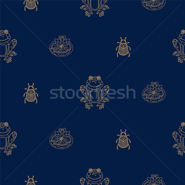 Sötét kék arany skicc béka tavacska Stock fotó © yopixart