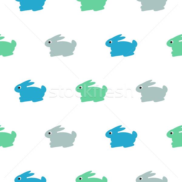 Rabbit blue, green on white kid pattern. Stock photo © yopixart