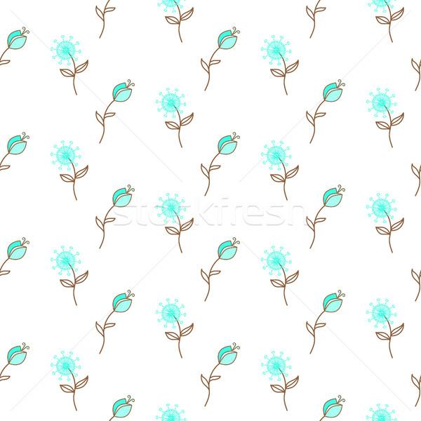 Ince mavi çiçek vektör desen vektör kumaş Stok fotoğraf © yopixart
