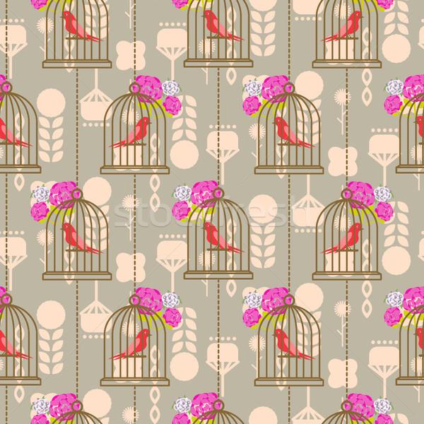 Bird cage romantic seamless vector pattern roses wallpaper. Stock photo © yopixart