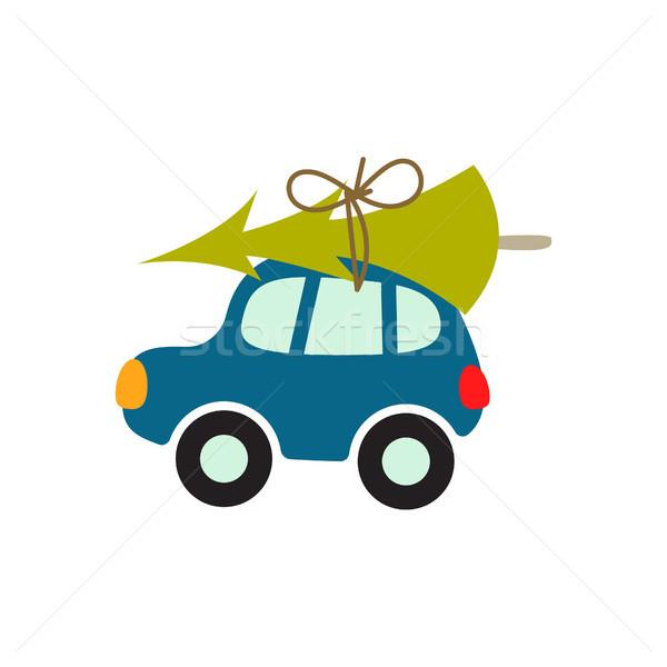Cartoon car with xmas tree on the roof vector illustration. Stock photo © yopixart