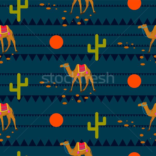 Désert chameaux ethniques nuit bleu modèle Photo stock © yopixart