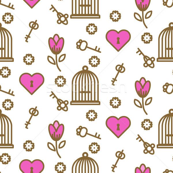Bird cage romantic outline seamless vector pattern. Stock photo © yopixart