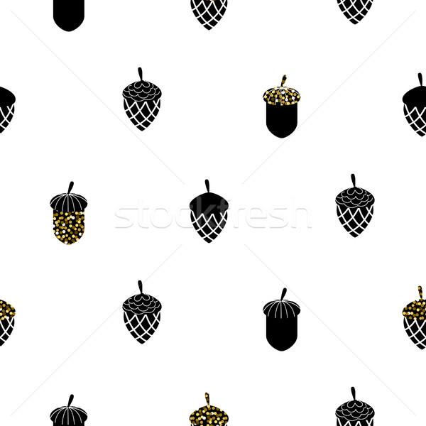 ドングリ 黒白 シームレス ベクトル パターン 金 ストックフォト © yopixart