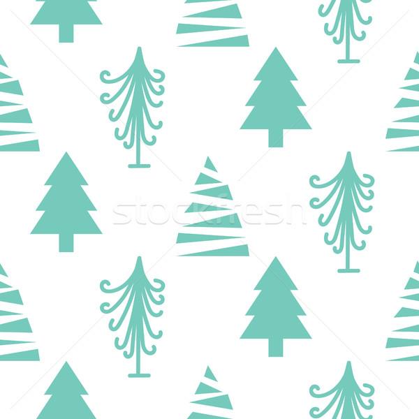 Stock photo: Christmas trees seamless vector pattern.