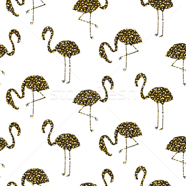 Flamingo gold glitter silhouette seamless vector texture. Stock photo © yopixart