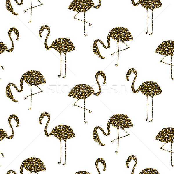 Flamingo ouro brilho silhueta sem costura vetor Foto stock © yopixart