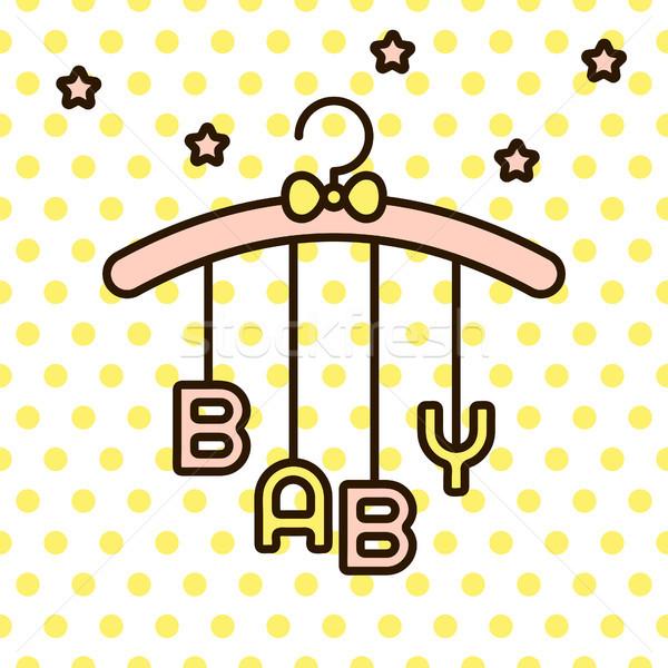 Baby Wort hängen Rack Vektor Bogen Stock foto © yopixart
