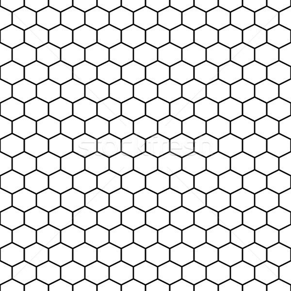 六角形 グリッド ベクトル タイル 黒白 ストックフォト © yopixart
