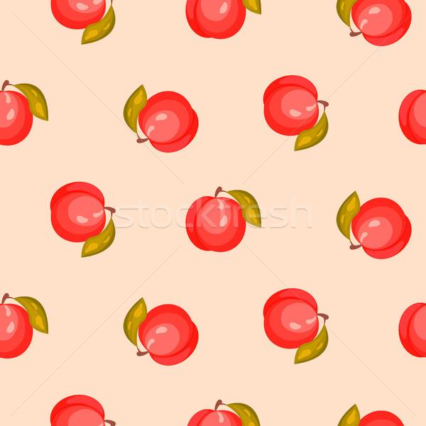 Fényes érett barack gyümölcs végtelenített vektor Stock fotó © yopixart