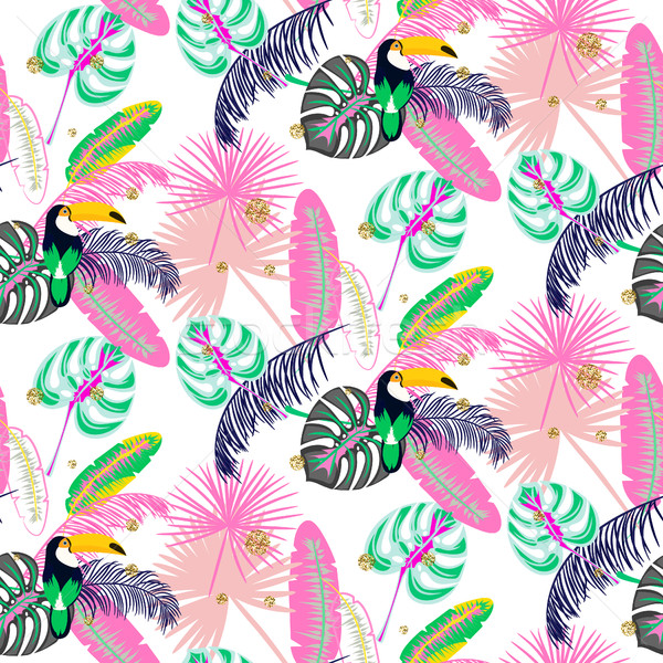 Monstera tropic pink plant leaves and toucan bird seamless pattern. Stock photo © yopixart