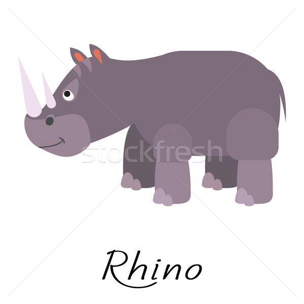 Rhino wild cartoon animal vector on white. Stock photo © yopixart