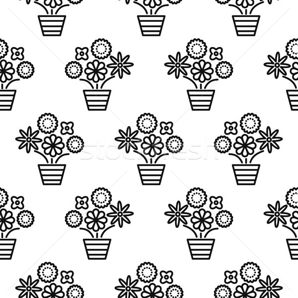 Outline flowers in pots seamless pattern texture. Stock photo © yopixart