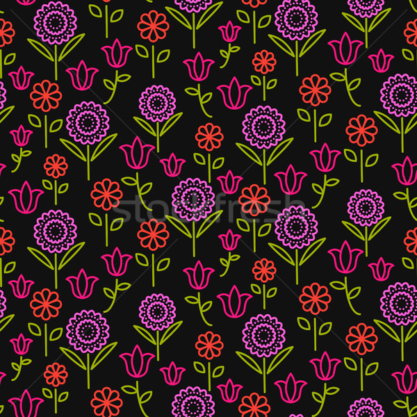 бесшовный вектора шаблон ярко линия цветы Сток-фото © yopixart