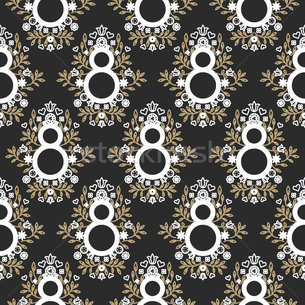 8 March floral black and gold seamless vector pattern. Stock photo © yopixart