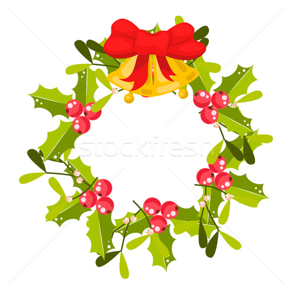Christmas holly berry wreath vector icon. Stock photo © yopixart