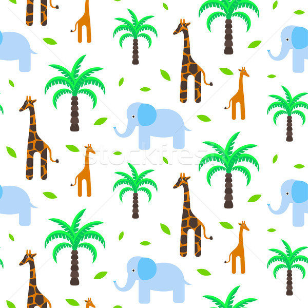 Savannah animals baby seamless pattern vector. Stock photo © yopixart