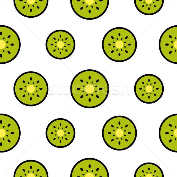 Kiwi vruchten naadloos groene patroon Stockfoto © yopixart