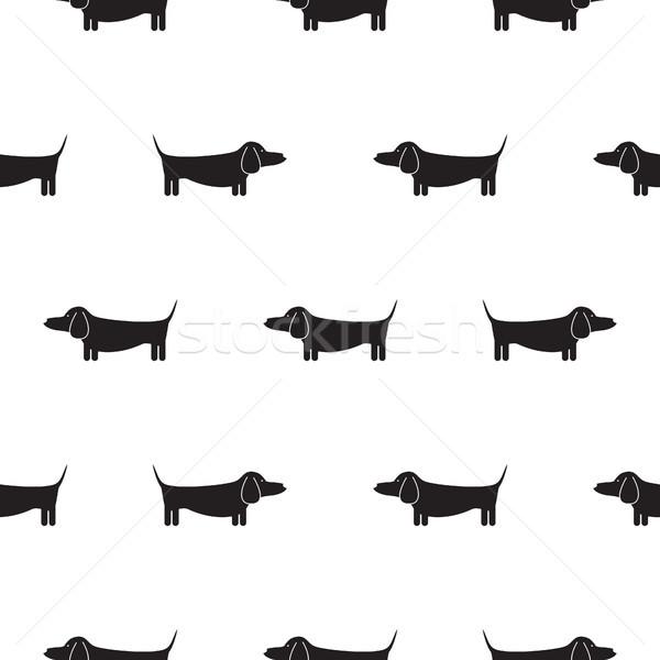 такса собака силуэта бесшовный вектора монохромный Сток-фото © yopixart