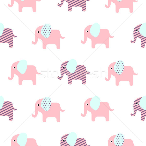 Cute elephant cartoon baby seamless pattern. Stock photo © yopixart