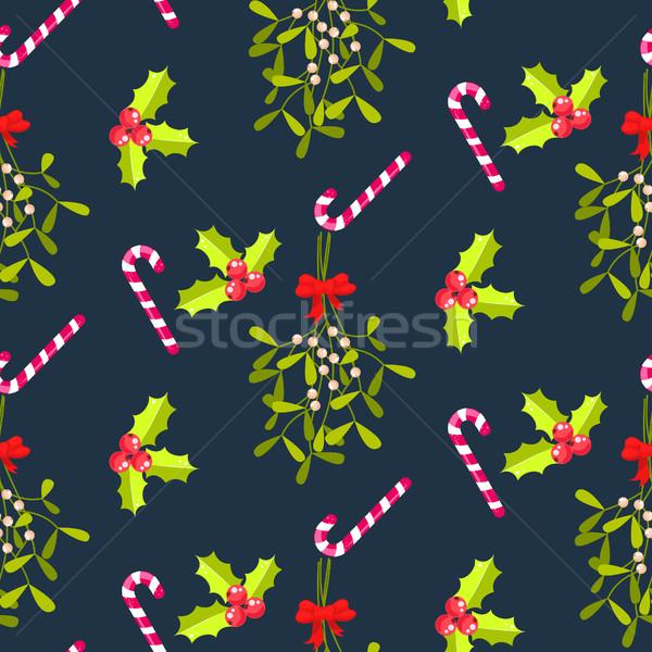 Foto stock: Beijando · sem · costura · padrão · vector · tradicional · planta