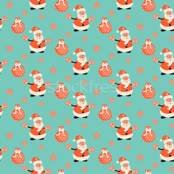 Feliz papai noel verde de padrão Foto stock © yopixart