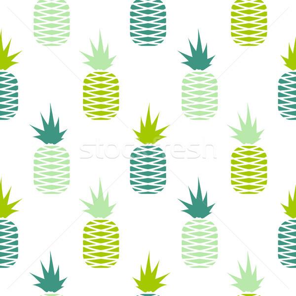Verde ananás sem costura fruto padrão vetor Foto stock © yopixart