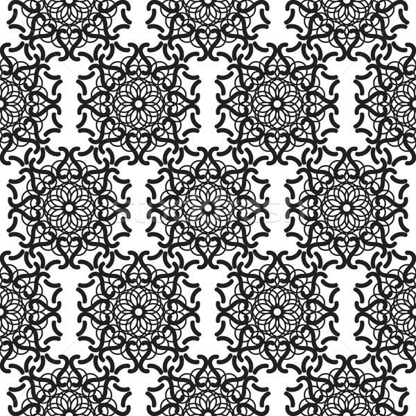 мандала кружево черный бесшовный вектора Сток-фото © yopixart