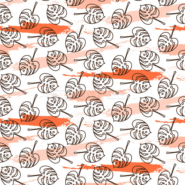 Monstera leaves on paint brushstrokes seamless vector pattern. Stock photo © yopixart
