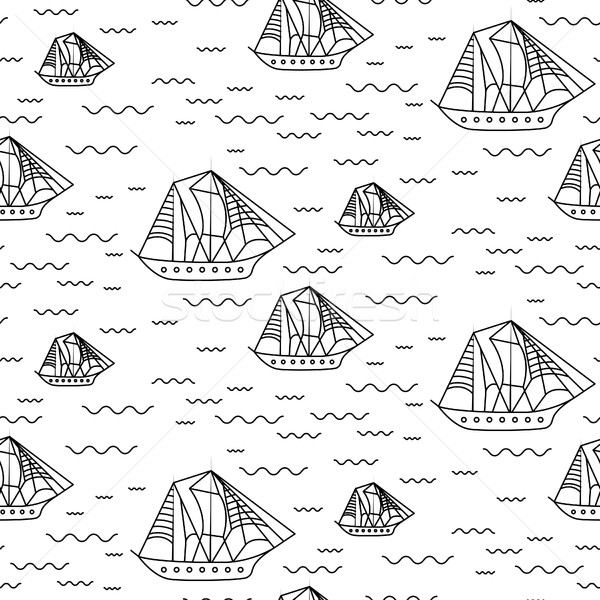 Sailing ship seamless outline vector pattern in doodle style. Stock photo © yopixart