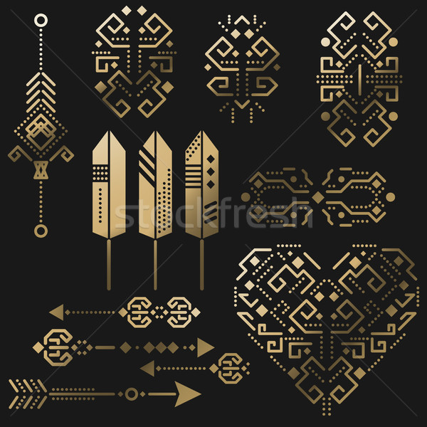 Tribal aztec vector gold stencil elements. Stock photo © yopixart