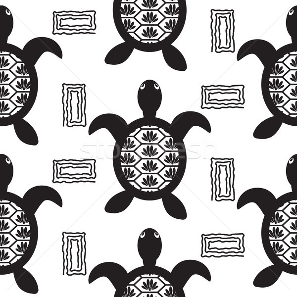 Turtle black stencil seamless vector pattern. Stock photo © yopixart