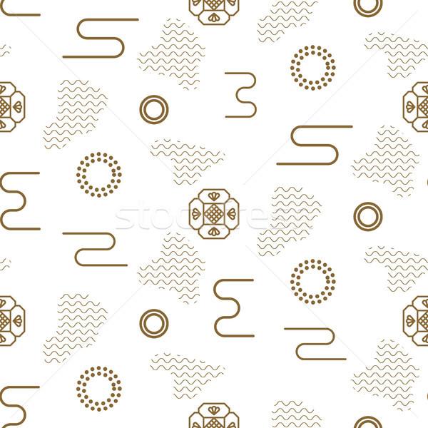 Stok fotoğraf: Japon · vektör · doğa · model · altın