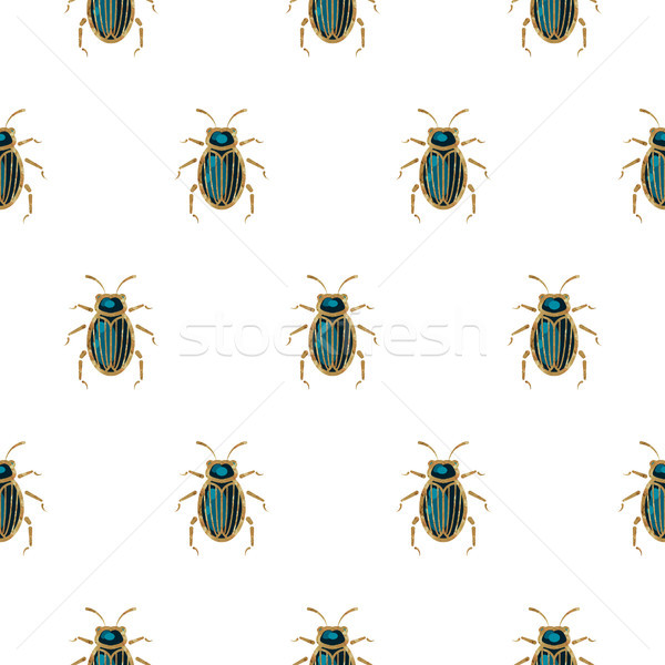 Emerald and gold beetle brooch vector seamless pattern. Stock photo © yopixart