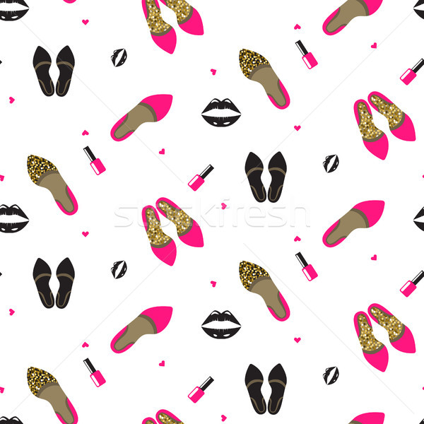 Chic girl fashion seamless pattern. Stock photo © yopixart