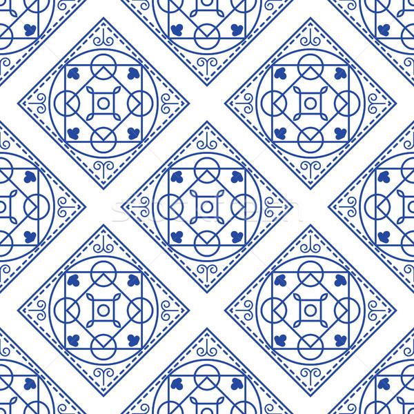 Bleu blanche carrelage modèle Photo stock © yopixart