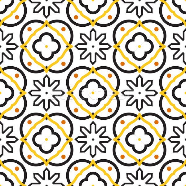 Azulejos black and white mediterranean seamless tile pattern. Stock photo © yopixart