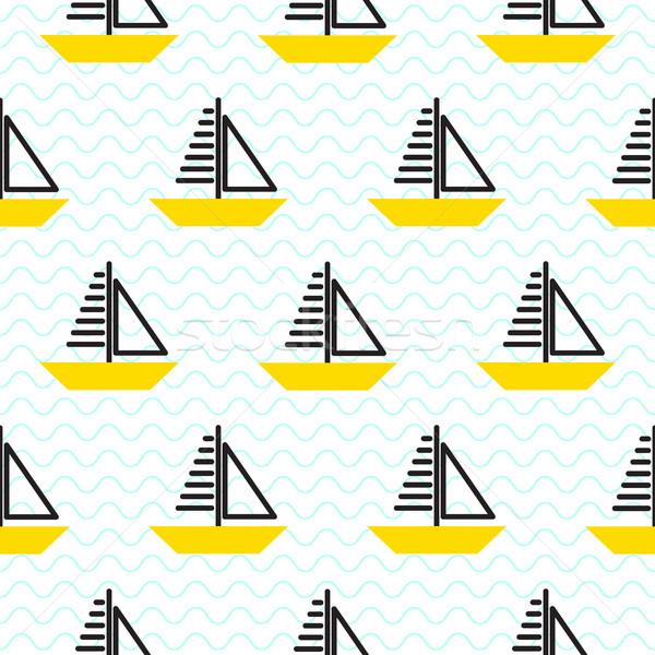 Zeilschip naadloos kid vector patroon stijl Stockfoto © yopixart