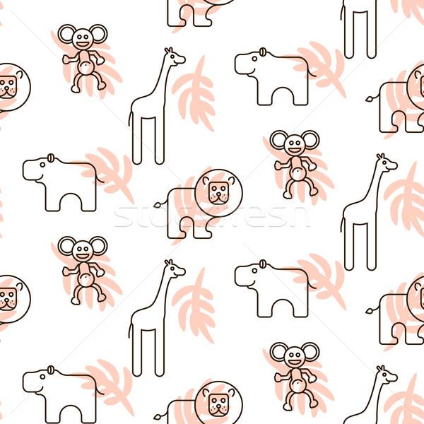 African wild animals kid seamless pattern vector. Stock photo © yopixart