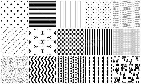Vetor preto e branco geométrico texturas simples Foto stock © yopixart