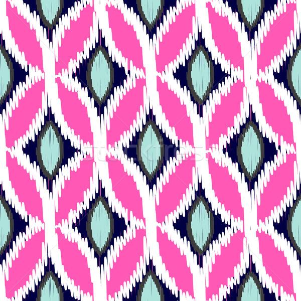 Ikat ogee rhombs vector seamless pattern. Stock photo © yopixart