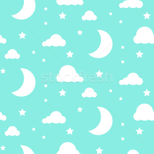 Starlight night blue seamless vector pattern. Stock photo © yopixart